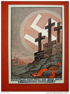 """farbige SS Werbekarte Nr.4 """"Deutschland muss leben und wenn wir sterben müssen!"""" von Deutsches Reich, ungebraucht - £318"""