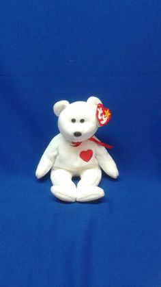 117498d9473 VALENTINO the BEAR Ty Original Beanie Baby pe pellets white fur red heart  rare retired collectible Never displayed