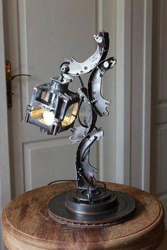 Terrific photo - go and visit our short post for a lot more inspiring ideas! Car Part Furniture, Automotive Furniture, Automotive Decor, Cool Lighting, Lighting Design, Art En Acier, Lampe Steampunk, Lampe Metal, Car Part Art
