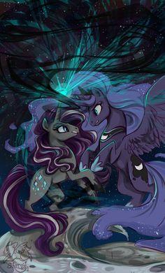 Nightmare Rarity and Princess Luna by sharpie91.deviantart.com on @deviantART