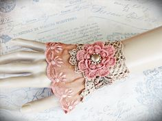 Heirloom Lace Cuff Bracelet  Coral Vintage Lace by LaVieilleLune, $25.00