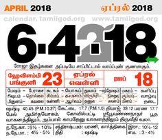 April  2018 Calendar - Tamil daily calendar for the day 6/4/2018
