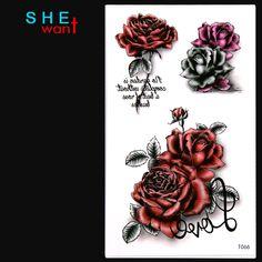 Waterproof Hình Xăm Tạm Thời Sticker Tình Yêu Tăng Thiết Kế Hoa Đèn Flash Tattoo Phụ Nữ Sexy Cánh Tay Vai Nước Chuyển Xăm