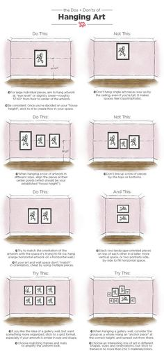 Dos and Don'ts of Hanging Art: Tips & Measurements As a designer, poorly hung art is probably my number one design bugbear. Our pictorial guide to hanging art like a pro will help you avoid many all-too-common design pitfalls. Home Staging, Decoration Ikea, Hanging Artwork, Hanging Pictures On The Wall, Picture Hanging Tips, Hanging Paintings, Decor Scandinavian, Makeover Tips, Interior Design Tips