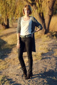 Gray Long Cardigan + White Tank + Black Skinny Jeans + Metal Belt + Black Ankle Boots