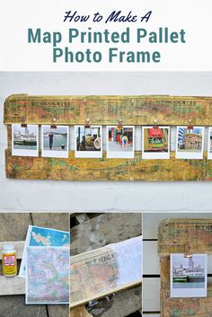 Create a unique frame for those special travel photos. By making an map printed pallet photo frame.