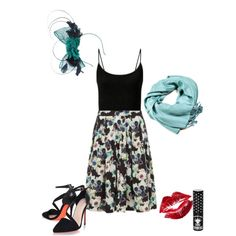 Be a rebel! Wolf & Whistle Green Floral Skirt #floral #prints #ascot #heels #pashmina #fascinator #red #lips #blue #green #pastels #wolfandwhistle