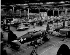 Republic P-47D Thunderbolt view of assembly line, 1944. by aeroman3, via Flickr