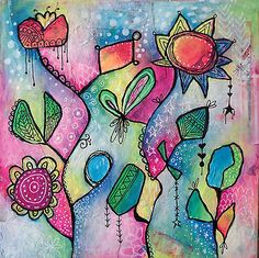 NFAC-March-Flowers-Theme-Mixed-Media-Abstract-Floral-Painting-Collage
