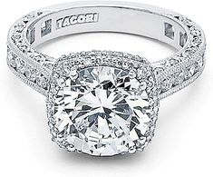 """Wish it wasn't so ridiculously expensive. One of my VERY FAVORITE RINGS = Cushion cut + Halo of Diamonds + Victorian look scroll. I PROMISE - I don't even care if the diamonds are real; so so so beautiful. I just wish the price wasn't so painful.  Tacori RoyalT Cushion Halo Diamond Engagement Ring  : The beloved Tacori Dantela design is more beautiful than ever in this """"RoyalT"""" collection engagement ring."""