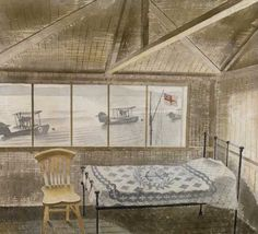 RNAS Sick Bay, Dundee by Eric Ravilious 1941 ( Ravilious flew for the first time aboard a Walrus seaplane at RNAS station, Dundee. Dundee, Through The Window, Indian Art, Painting & Drawing, Illustration Art, Interior Decorating, Fine Art, Contemporary, Canvas