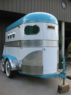 Turquoise and white horse trailer! I want to restore a two horse trailer like this and use as a motorcycle trailer