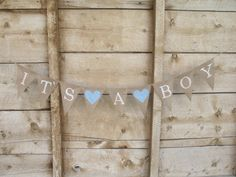 Its a boy burlap banner in white lettering, baby shower banner, photo prop, bunting, sign,