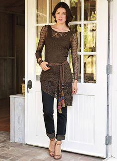 Chorrilho de ideias: Tunica comprida castanha em crochet rendado
