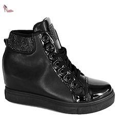 a411339497c93 Baskets strass montantes compensées noir femme simili cuir et strass noirs-36  - Chaussures primtex