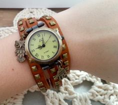 Light brown leather long strap watch wrap Love by MKedraDecoupage, $21.00