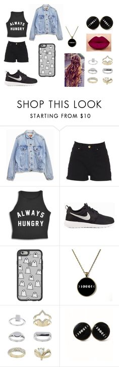 """""""Untitled #94"""" by ignoredpest on Polyvore featuring Levi's, NIKE, Casetify, Topshop, cute and black"""