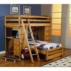 Wood Loft Bed With Desk And Drawers