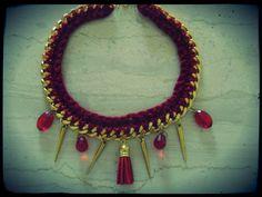 handmade necklace. . dark red . .
