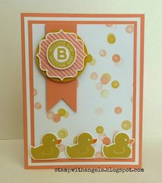 Baby card created with Something For Baby stamp set from Stampin' Up!, Lullaby designer series paper