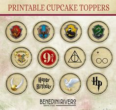 Harry Potter cupcake toppers party printables | Gryffindor, Hufflepuff, Slytherin, Ravenclaw | Hogwarts Houses |  Birthday | Instant Dowload