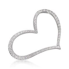 CZ Asymmetrical Heart Pin in Sterling Silver. A free-spirited valentine for any time of the year. #valentinesday #love