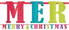 Glitter Merry Christmas Banner 12ft - Party City