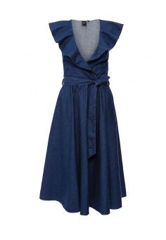 Платье джинсовое LOST INK, цвет: синий. Артикул: LO019EWGSA73. Женская одежда / Платья и сарафаны / Платья-миди