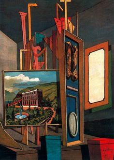 Vast metaphysical interior Artist: Giorgio de Chirico Style: Metaphysical art Genre: interior