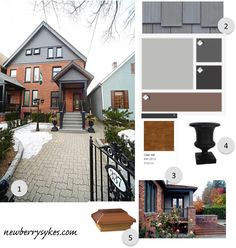 Another grey palette, but where a darker grey is the dominant trim colour and an option to stain the porch rather than paint.