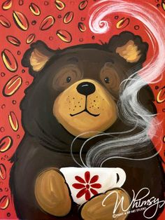 RezClick - Whimsy Paint and Sip - Northfield: Calendar - caffè inverno Autumn Painting, Diy Painting, Painting & Drawing, Animal Paintings, Animal Drawings, Art Drawings, Paint And Sip, Christmas Paintings, Bear Art