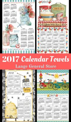 SHOP NOW! Continue the homespun towel calendar tradition by hanging one in your home or giving them as gifts! Collectible kitchen towel comes with a mailable gift box. Includes wooden dowels, coupling, and cord for hanging. They are reusable-use once as a calendar, forever as a kitchen towel.