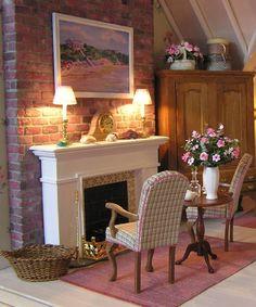 Sitting Room with Fireplace Susan J. Farnik  Susan's Miniatures