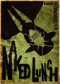 Naked Lunch ~ Film Poster by Stuntman Kamil. Director: David Cronenberg. Writers: William S. Burroughs (novel) & David Cronenberg. Starring: Peter Weller, Judy Davis, & Ian Holm. http://stuntmankamil.deviantart.com/gallery/?offset=24