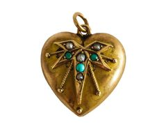 Antique English Victorian 1890s Turquoise & Seed Pearl Puffed Heart Charm in  9ct Gold Leaf Design