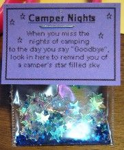 """When you miss the nights of camping to the day you say 'Goodbye' look in here to remind you of the camper's star filled sky"" S.W.A.P.S."