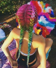 Rainbow coloured hairstyle with double braids