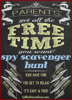 parental free time - scavenger hunt by Robyn Welling @hollow tree ventures