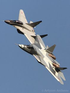 Together past and future  Sukhoi F-22A  and T-50 PAK FA