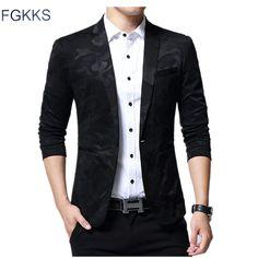 ad64c239f 15.43 22% de DESCUENTO|FGKKS nueva llegada de lujo hombres Blazer nueva  primavera moda marca de algodón de alta calidad Slim Fit hombres traje  Terno ...