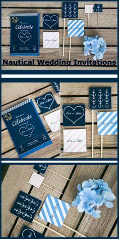 Nautical Wedding Invitations - Wedding Ideas By You Nautical Wedding Stationery, Nautical Wedding Theme, Wedding Invitation Samples, Wedding Invitation Design, Wedding Ideas Board, Wedding Planning, Ahoy Matey, Sea Theme, Wedding 2017