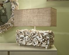 Oyster Shell Table Lamp with Linen Shade