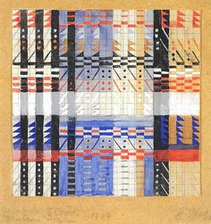 Design for a Jacquard textile Mounted on cardboard and inscribed  'Jacquard 5 Chöre Bauhaus Dessau 1928' Signed 'G.Stölzl' 33x21 cm Private collection