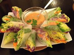 Living Vegan, Mostly Raw and Loving Life: Thai Spring Rolls with Spicy Peanut Dipping Sauce