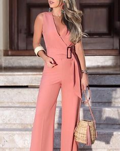 Elegant V-Neck Solid Color Wide Leg Jumpsuits Women 2019 Summer Sleeveless Office Rompers Office Lady Belted Wear Playsuits Trend Fashion, Womens Fashion, Parisian Fashion, Bohemian Fashion, Cheap Fashion, Fashion Fashion, Retro Fashion, Mode Outfits, Fashion Outfits