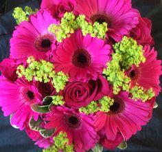 Hot pink roses and gerbera hand tied wedding bouquet Hot Pink Wedding Bouquets | bridal bouquet this beautiful rose bouquet mixes hot pink ravel ...