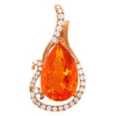 18K Rose Gold, 3.96CTW Fire Opal, 0.37CTW VS2-SI1 G-H Diamond Pendant by Yael Jewelry
