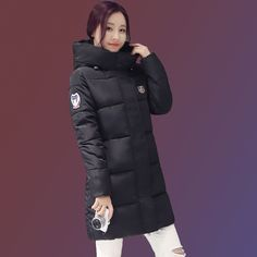 43.97$  Buy now - http://ali24b.worldwells.pw/go.php?t=32784336270 - Fashion Ladies Coats Pink 2016 Winter Coat Women Parka Long Thick Warm Down Cotton Jacket Women Jackets And Coats Black JX1206 43.97$
