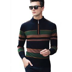 2017 Men Winter Warm Thicken Full Wool Half Zipper Sweater Autumn Knitted Pullover Jumper Casual Turtleneck Retro Jersey Hombre #Affiliate Casual, Jumper, Stripes, Turtle Neck, Pullover, Wool, Retro, Sweaters, Jackets