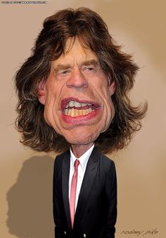 Mick Jagger (Caricature) Dunway Enterprises: http://dunway.com - http://masterpaintingnow.com/how-to-draw-everything?hop=dunway